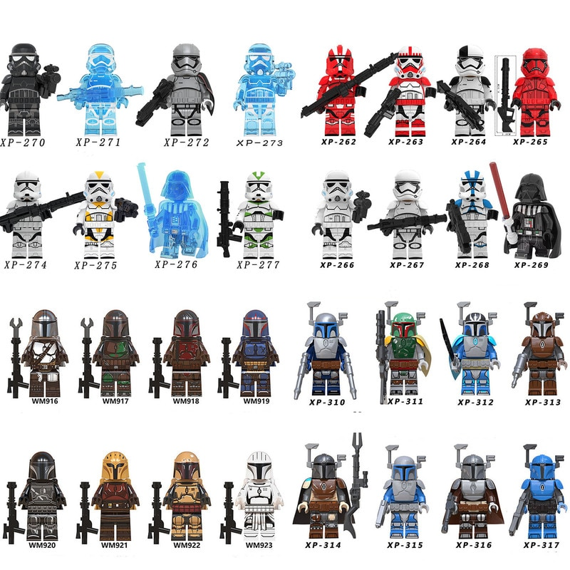 8 Uds bloques de Star Wars minifiguras Mandalorian imperios Yoda Rey Stormtrooper bloques de construcción en miniatura juguetes compatibles con bloque de Lego