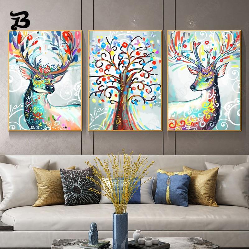Картина на холсте для гостиной, цветные олени, животные и фото, настенные картины, акварельные украшения для дома