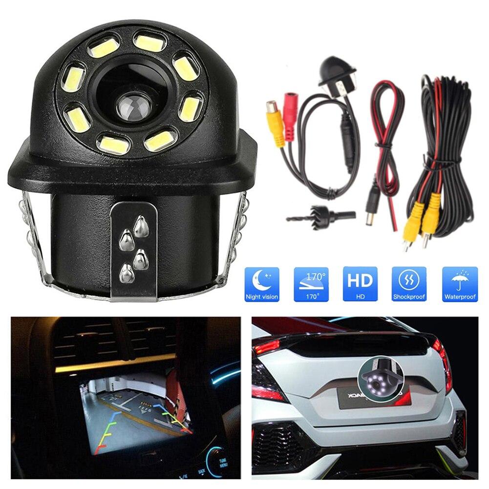 Автомобильная камера заднего вида, светодиодный, ночное видение, парковочный монитор, CCD водонепроницаемый, 170 градусов, HD видео