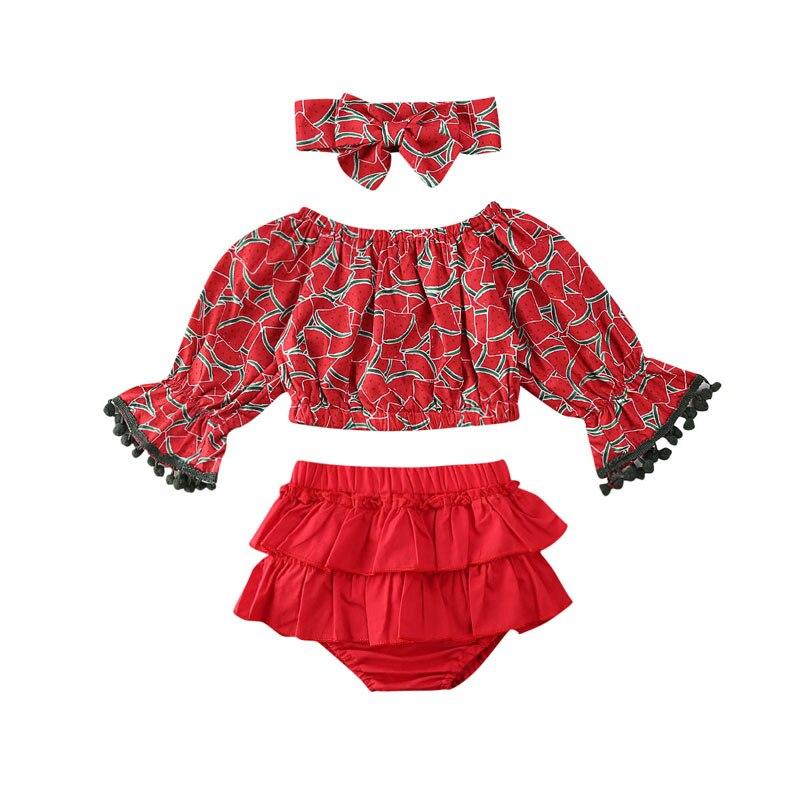 Focusnorm 0-24M 3PCS Newborn Baby Girl Watermelon Clothes Set Long Sleeve Fashion Tops Ruffle Shorts Pants Headband Outfits