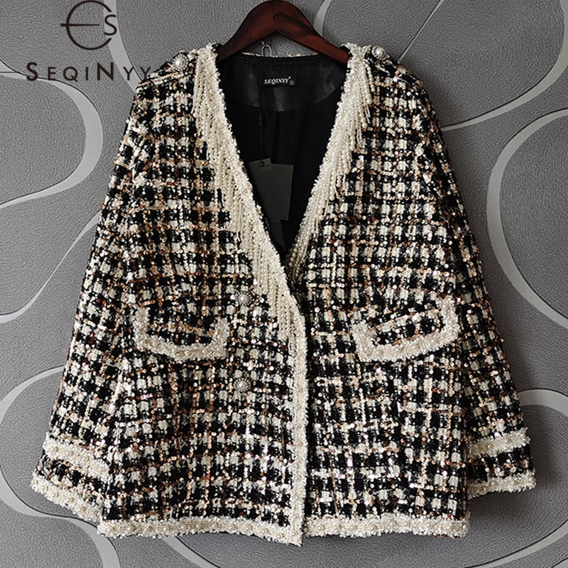 SEQINYY خندق معطف الخريف الربيع موضة جديدة تصميم المرأة المدرج الديكور شرابة الترتر منقوشة أسود أبيض نسج البنطال القصير