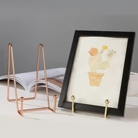 decorative plate stand book shelf holder picture frame stand durable rose gold book display stand storage rack