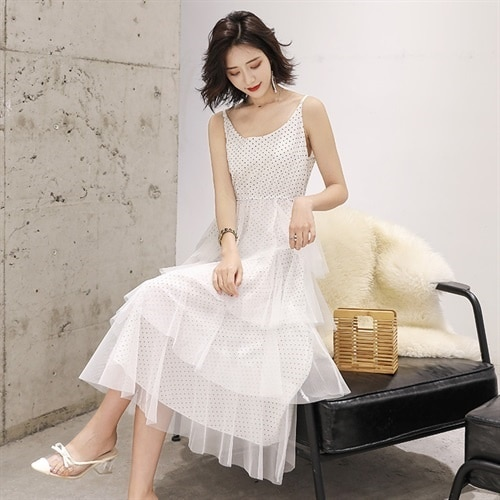 Spot Goods Polka Dot Camisole Summer Fashion Trends Simple and Comfortable Long Dress Fairy Dress Fa