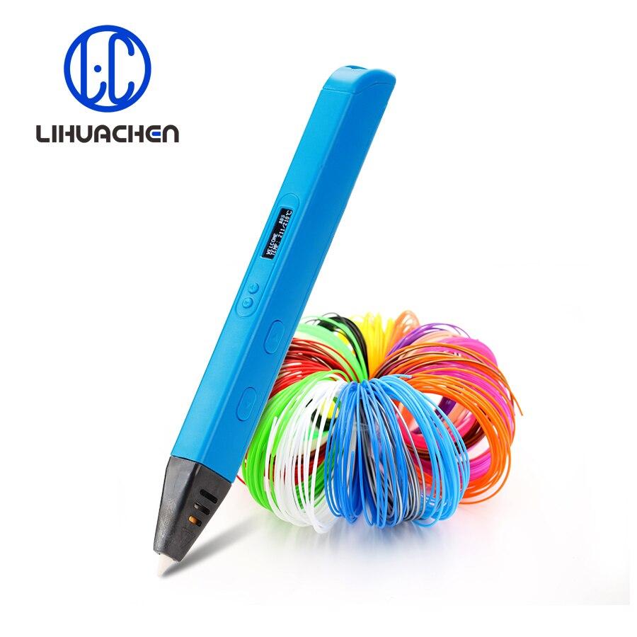 Lihuachen caneta de impressão 3d e display oled 3d desenho caneta criativo graffiti arte artesanato produção e educação abs/pla filamento