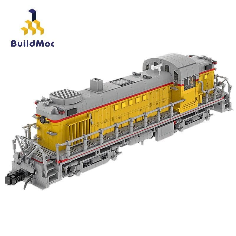 بناء محطة القطار التكنولوجيا العالية السكك الحديدية MOC الاتحاد المحيط الهادئ Alco RS-2 (1:38) نموذج اللبنات الطوب ألعاب قطار للأطفال