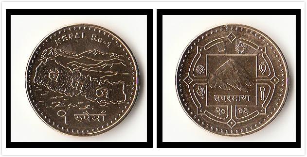 Moneda de rupia de Nepal 1, moneda Original Real de 100% de Asia, Nueva