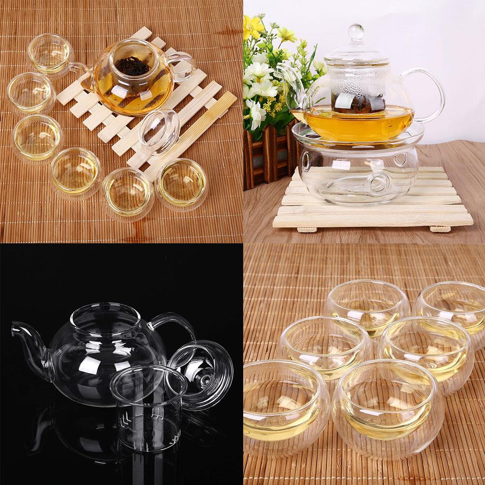 طقم شاي سارفي 800 مللي ، إبريق شاي مع 6 أوعية ، زجاج البورسليكات الشفاف