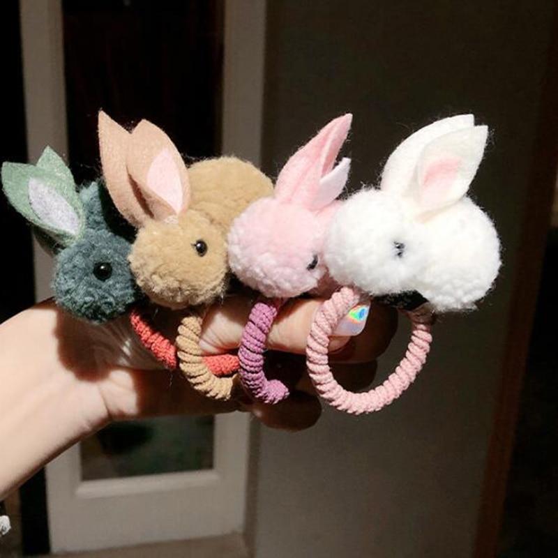 Lindo animal Bola de pelo de conejo, anillo mujer banda de goma elástica pelo bandas coreano sombreros niños ornamentos accesorios para el cabello