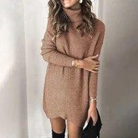 fashion women long sleeve sweater dress autumn winter turtelneck long sweaters ladies solid knitted sweaters streetwear