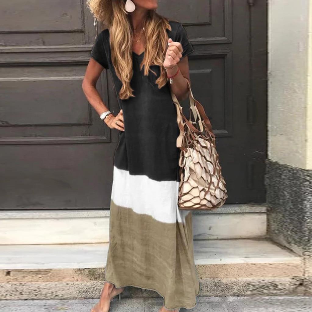 Женское Повседневное платье большого размера с v-образным вырезом и коротким рукавом, прямые поставки, аксессуары для дома, скидка, дешево