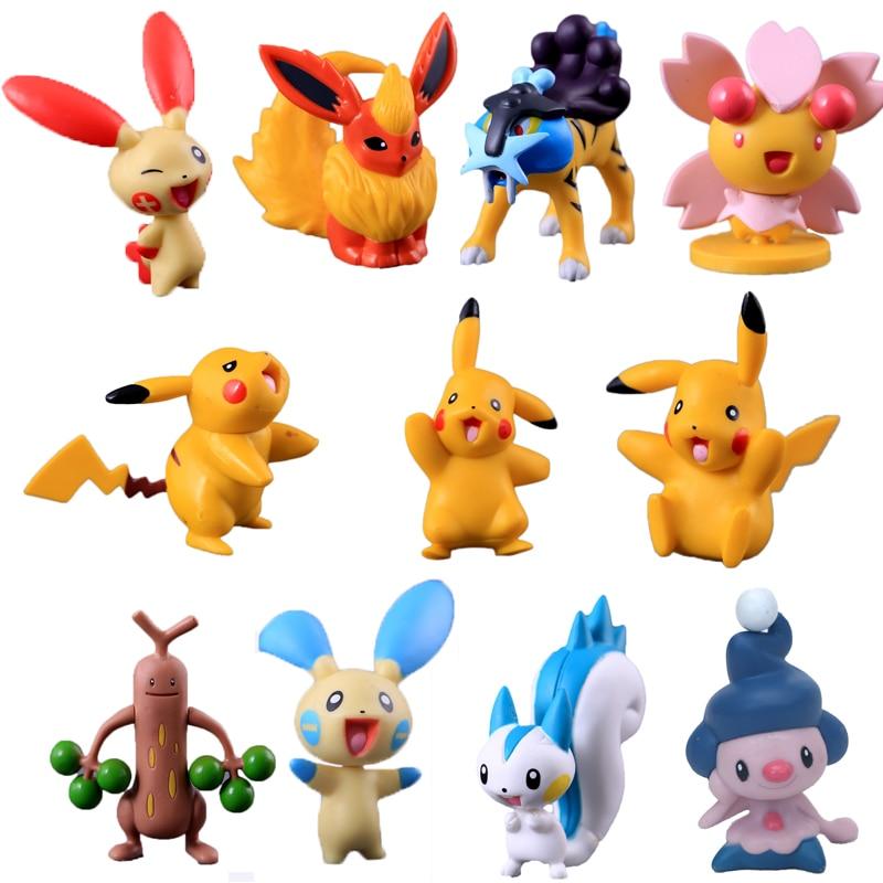 TAKARA TOMY Pokemon 4-15 Cm Pikachu Raikou Flareon Reshiram Zekrom Anime Mould Hot Large Dolls Children Toy Gift