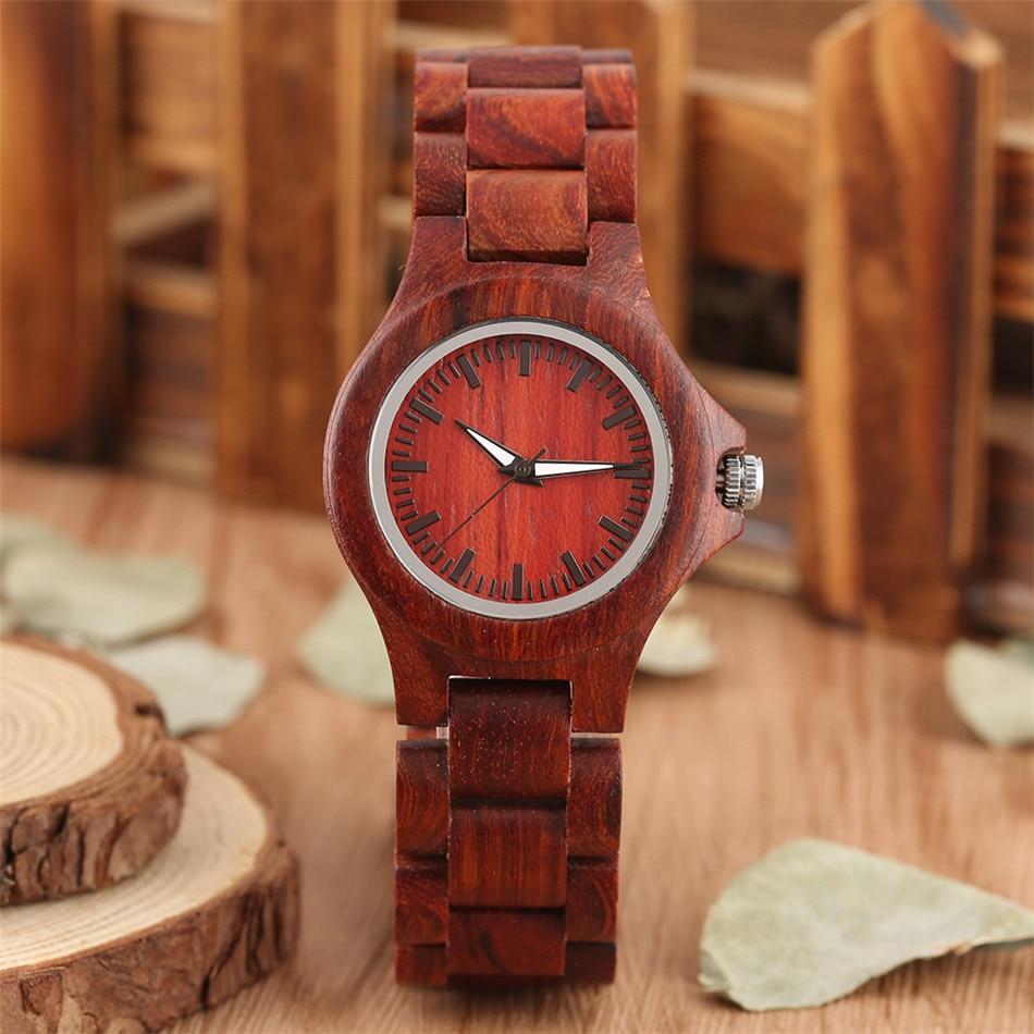 Vintage Red Wood Female Watches Quartz Natural Wooden Quartz Bangle Wristwatch Minimalist Women's Watch Folding Clasp Timepiece