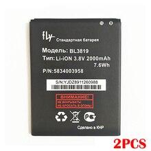 100% réel 2 pièces 2000mAh BL3819 batterie pour Fly IQ4514 Quad EVO Tech 4 IQ 4514 BL3819 3819 batterie de haute qualité + numéro de suivi