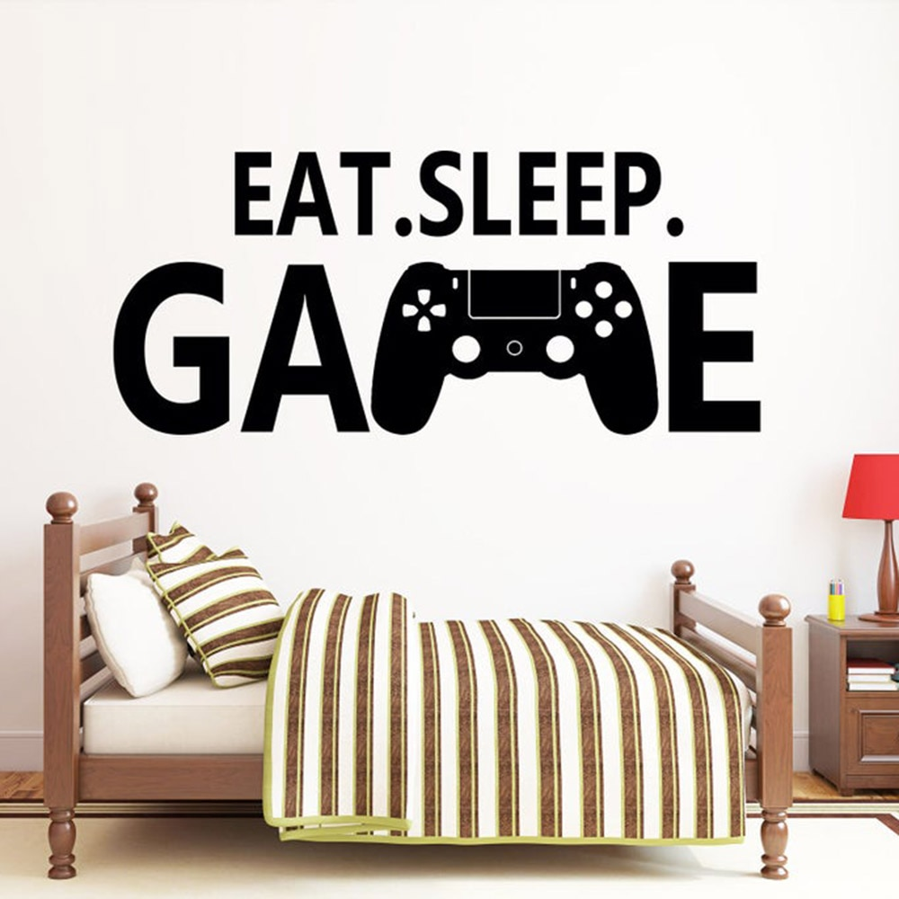 Eat Sleep игровая Наклейка на стену виниловая наклейка на стену с цитатами игровая станция PS4 контроллер Настенная Наклейка игровая комната нас...