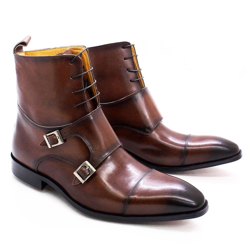 النمط البريطاني الرجال الشتاء الأحذية جلد العجل حقيقية عالية أعلى قبعة تو أحذية كاوبوي مشبك حزام الراهب أحذية الدانتيل للرجال