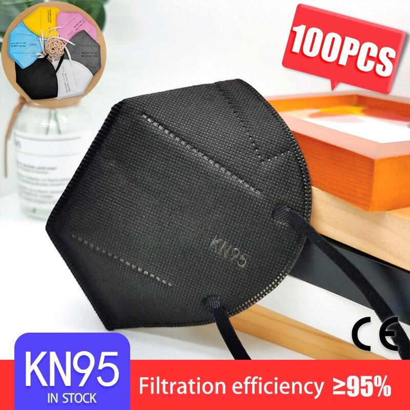 50-100 PCS BLACK Adult FFP2 Mask KN95 5 Layers Face Mask KN95 Respirator Protective Mask Face KN95 Masks Dustproof