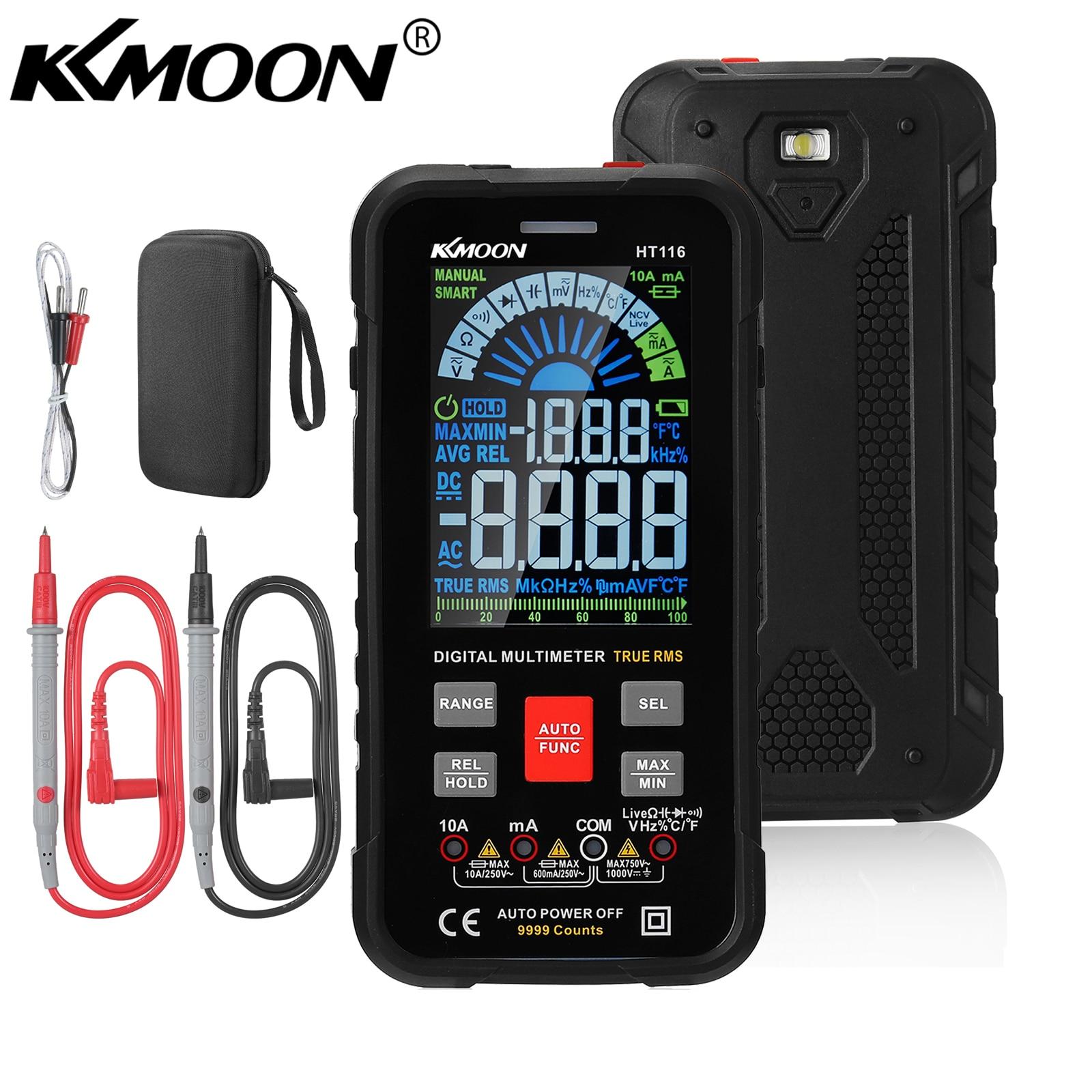 مقياس رقمي ذكي متعدد KKMOON HT116 شاشة كبيرة 9999 التهم Ture RMS NCV تيار ترددي مباشر جهد ترددي مقياس اختبار مباشر