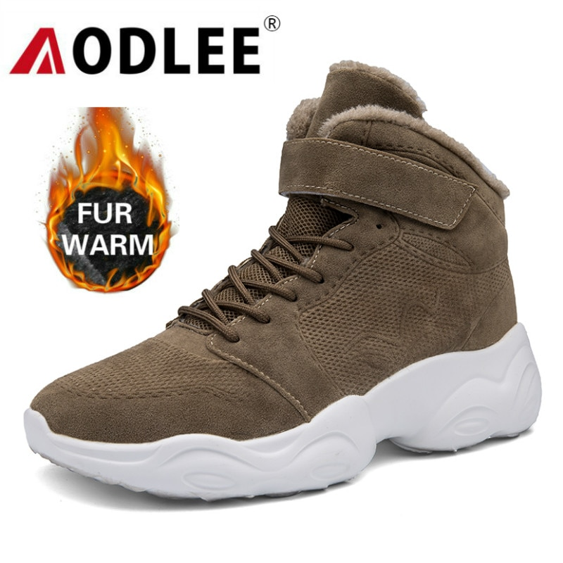 surom brand men s boots big size warm plush male leather shoes work boot warm fur winter casual snow sneakers mens ankle boots Size46 Winter Mens Boots High Top Fashion Clunky Sneakers for Men Snow Boots Warm Shoes Men Plush Warm Ankle Boots Footwear Male
