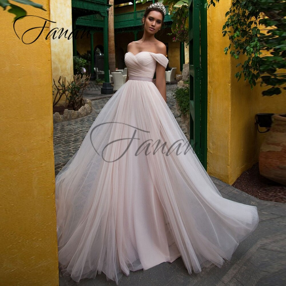 Review Simple Sweetheart Off The Shoulder Wedding Dresses Backless A-Line Organza Sweep Train Bow Bridal Gown Свадебное платье vestidos