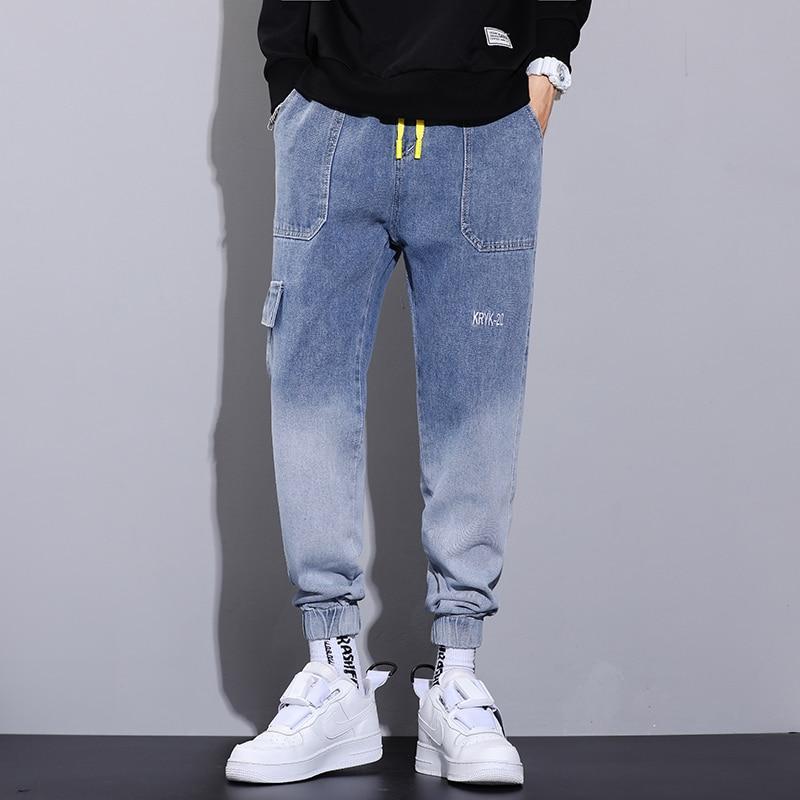 Новинка осени 2021, мужские свободные джинсы большого размера, рабочая одежда, повседневные модные Универсальные джинсы с градиентным шнурко...