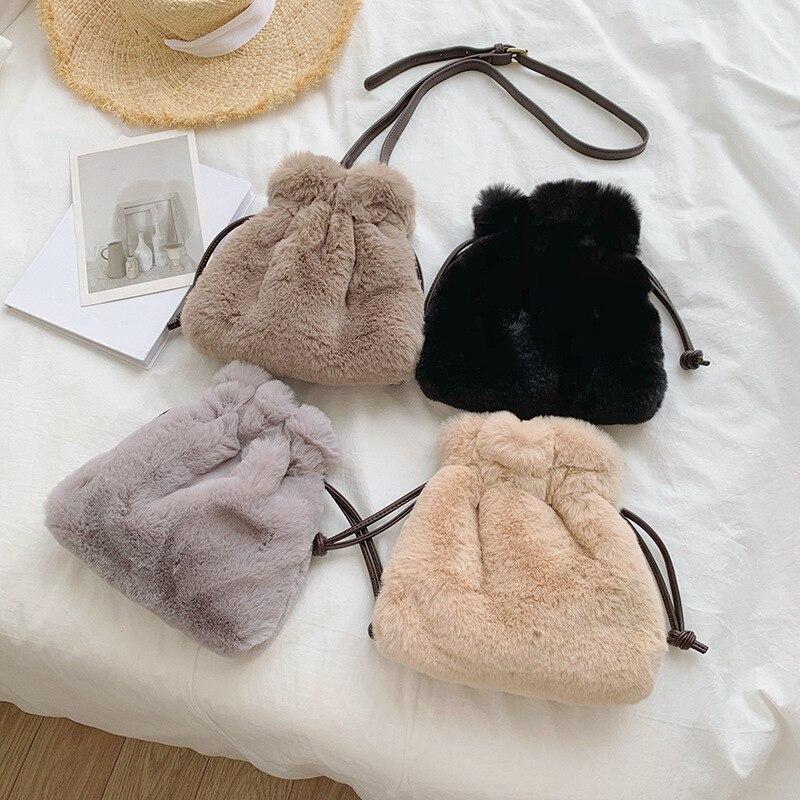 Crossbody Bags For Women Fluffy Fur Faux Bags Fashion Female Shoulder Bag Pack Pompom Handbag Tote Ladies Travel Messenger Bag