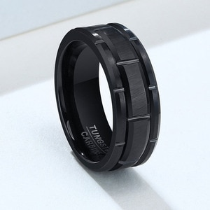 8mm Fashion Matte Surface Black Tungsten Ring for Men Tungsten Wedding Bands Jewelry Fashion Alliance Anniversary Mens Rings
