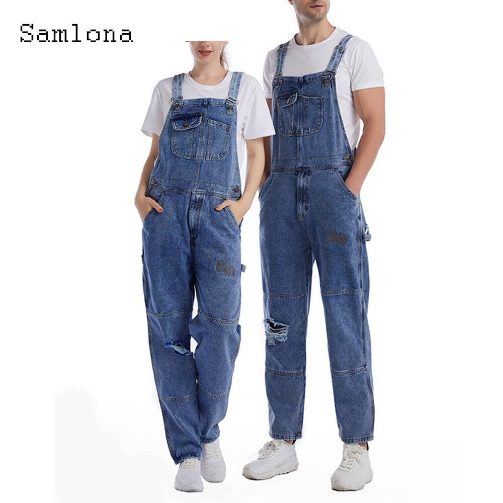 Мужские джинсовые комбинезоны Samlona, повседневные джинсовые брюки в европейском и американском стиле, рваные джинсовые комбинезоны с ремешк...