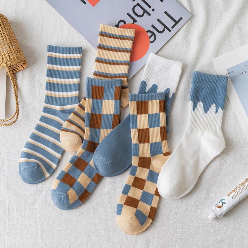 Пара симпатичных стильных женских носков, полосатые хлопковые повседневные, дышащие и удобные, подходят для женских носков