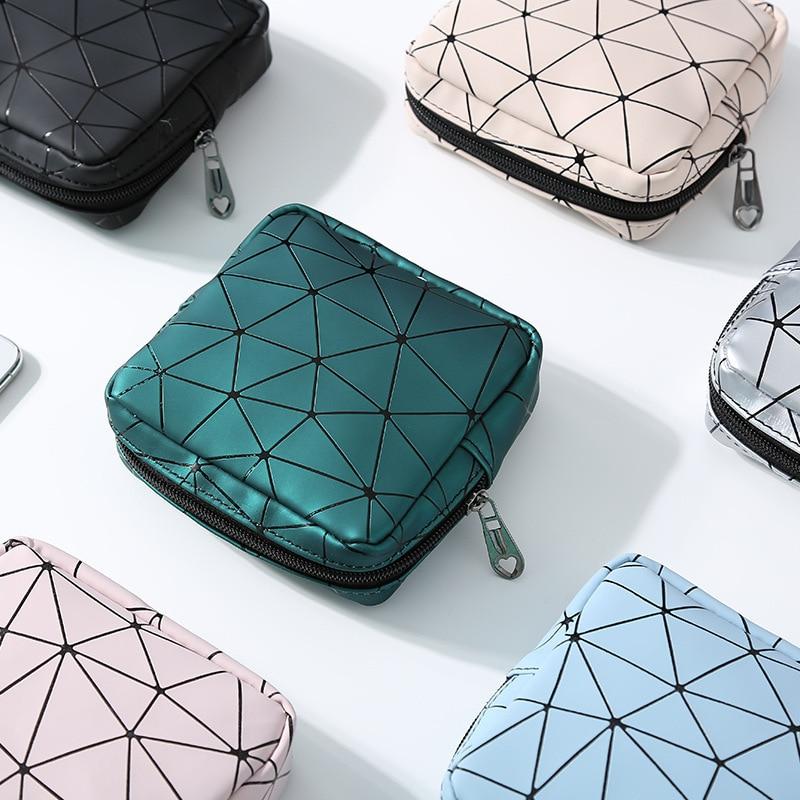 2020 newportable multifuncional couro do plutônio mulher menstrual almofada saco de armazenamento rhombus higiênico guardanapo organizador bolsa saco de cosméticos