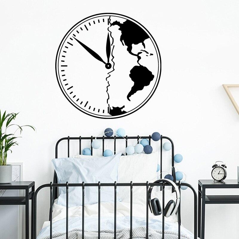 El Armagedón símbolo reloj mundo adhesivo con diseño de mapa para pared niños habitación niños dormitorio de viajes de aventura reloj Mapa de la pared de sala de juegos Decoración de vinilo