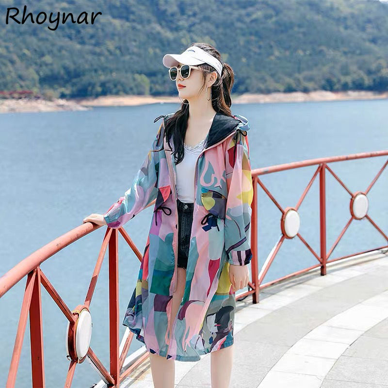 Oversize Jackets Women Basic Long Fashion With Hat All-match Camouflage Breathable Zipper Straight F