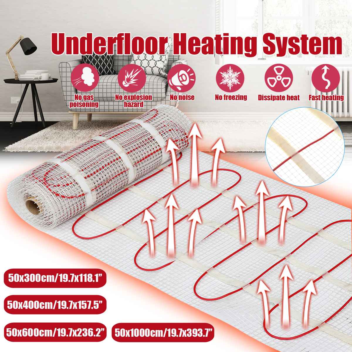 10 م سجادة تدفئة كهربائية توضع تحت الأرضية 150 ث/M2 50cmX10m تحت حصيرة الاحترار البلاط