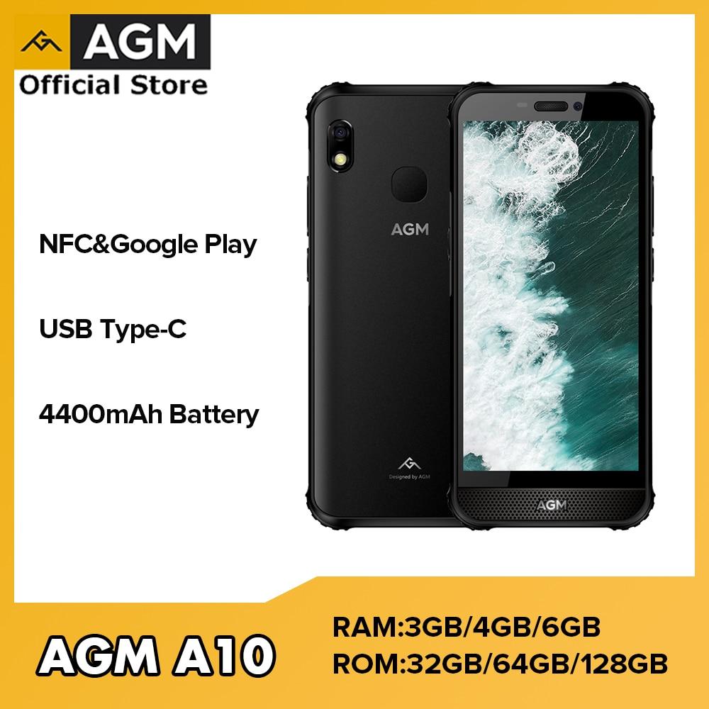 Перейти на Алиэкспресс и купить AGM A10 4G Прочный смартфон 6 ГБ 128 NFC 4400 мА/ч, Тип C мобильный телефон с двумя sim-картами IP68 отпечаток пальца, NFC Android мобильного телефона