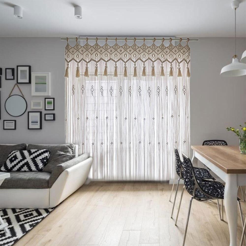 ستارة حائط بوهيمية مع شرابات ، منسوجة يدويًا ، للنوافذ ، غرفة النوم ، خلفية الزفاف ، الديكور ، DIY
