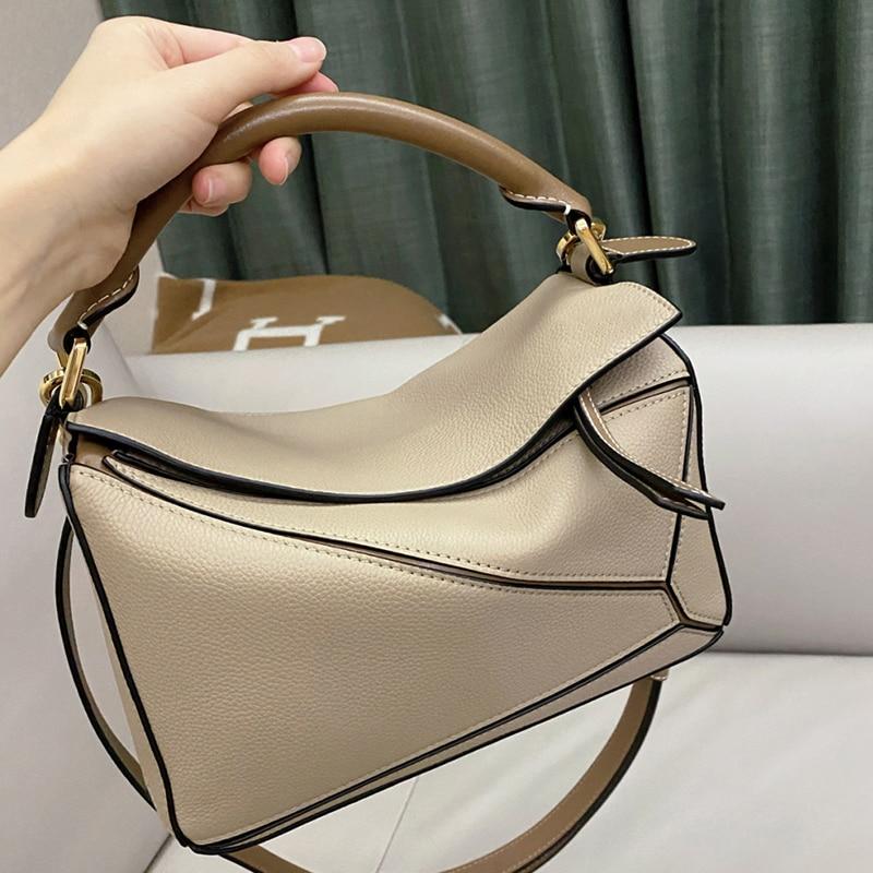 Womens bag 2021 new luxury brand stitching leather female star same style shoulder fashion messenger clutch