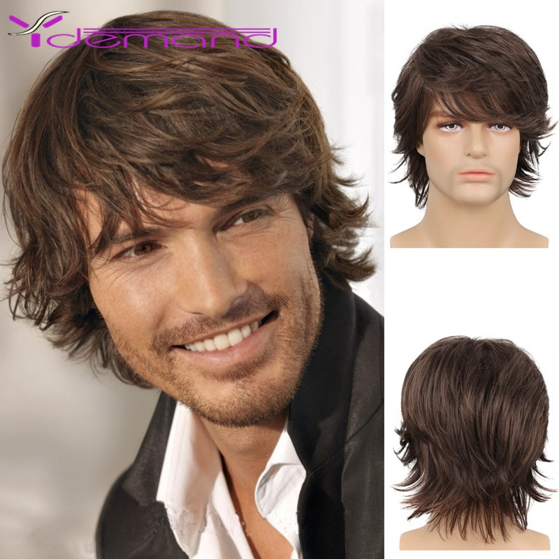 Y Demand Natural Wave Brown Pixie Cut Hair Short Men's Wigs Synthetic Full Wig Fleeciness Realistic Natural Toupee For Men