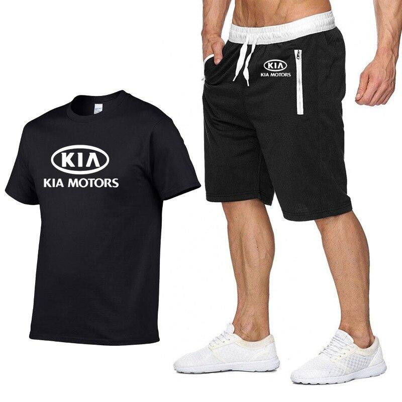 2020 Summer Men's short sleeve T-Shirt for KIA Car Logo Printed High Quality Cotton Fashion casual Men's T-Shirt Pants Suit 2Pcs