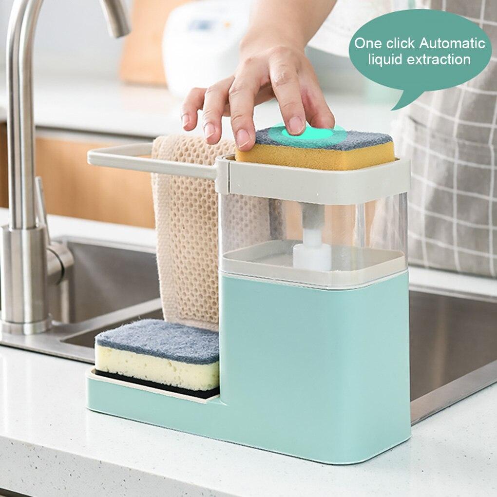 Two In One Sponge Drain Soap Dispenser With Sponge Pump Dispenser Wipe Arrangement Rack Dish Towel Hanger Kitchen Storage Holder