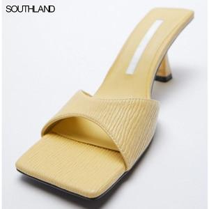 SOUTHLAND Summer High heel mules square toe women slides casual thin heel yellow women sandals