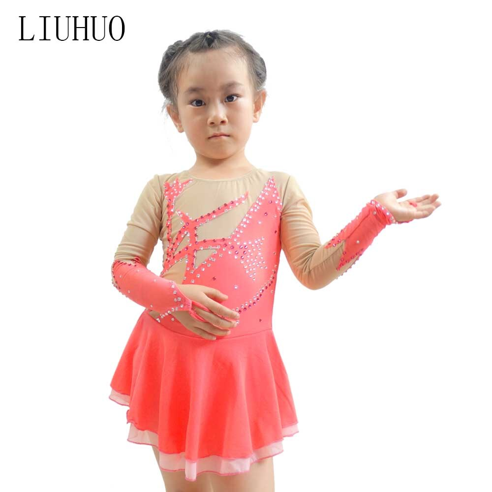 فستان فتيات من LIUHUO مزين بحجر الراين سباركلي من التل مع فتحة خلفية على شكل لوحة تزلج على الجليد باليه والرقص والجمباز