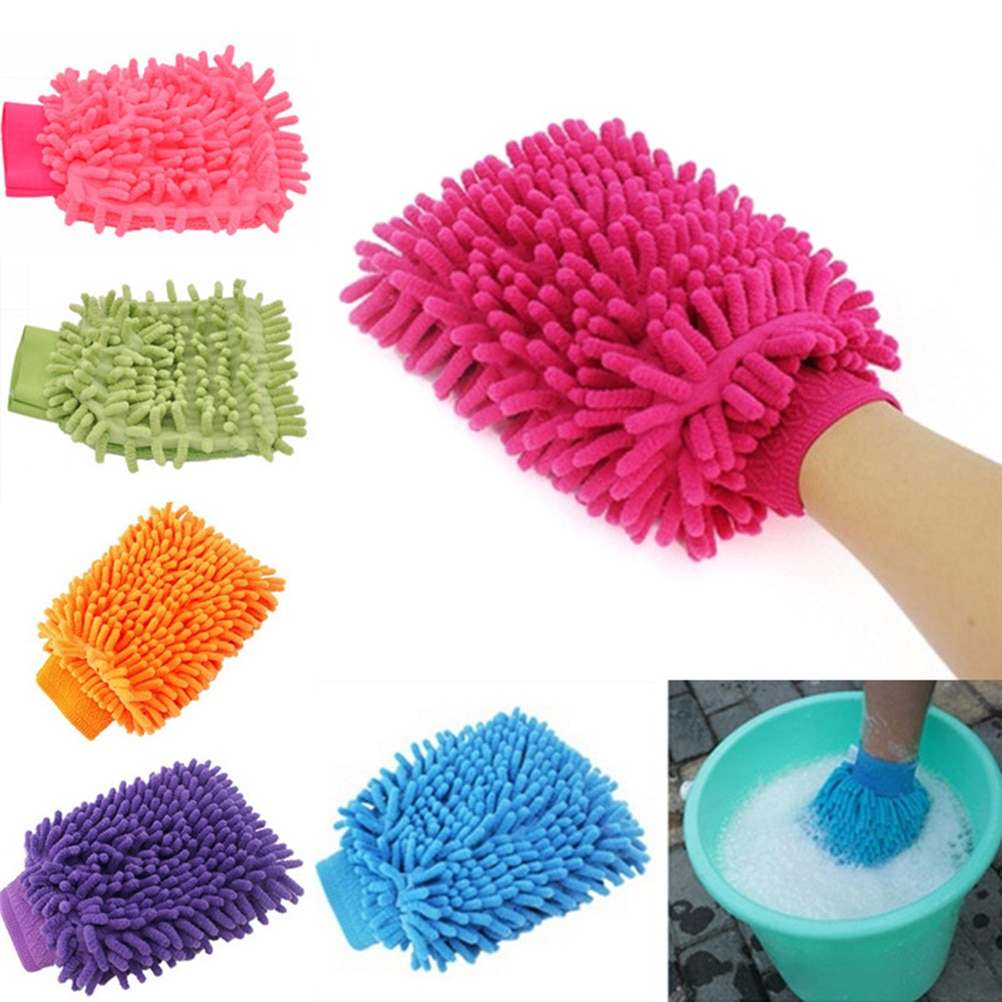 2 in 1 Ultrafine Fiber Chenille Microfiber Car Wash Glove Mitt Soft Mesh backing no scratch for Car Wash and Cleaning Auto Care