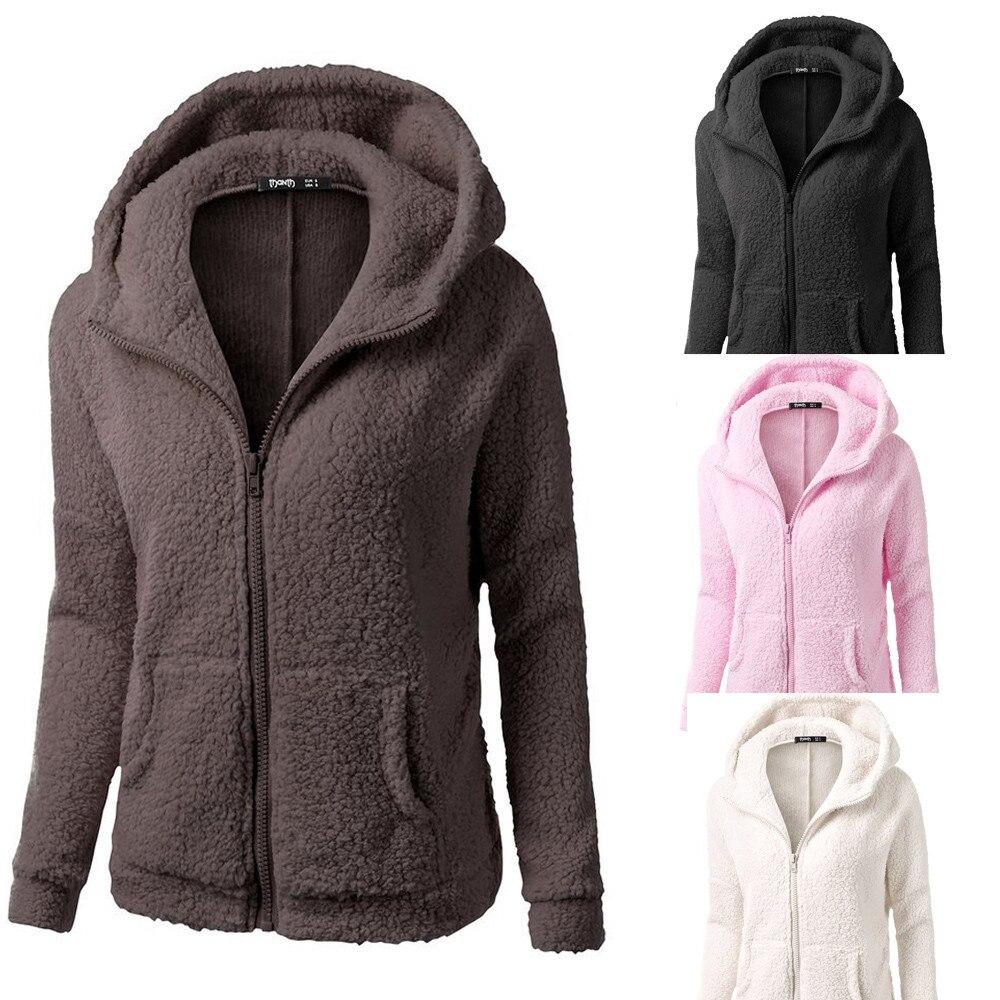 Abrigo Sudadera con capucha para mujer, abrigo de lana cálido con cremallera,...