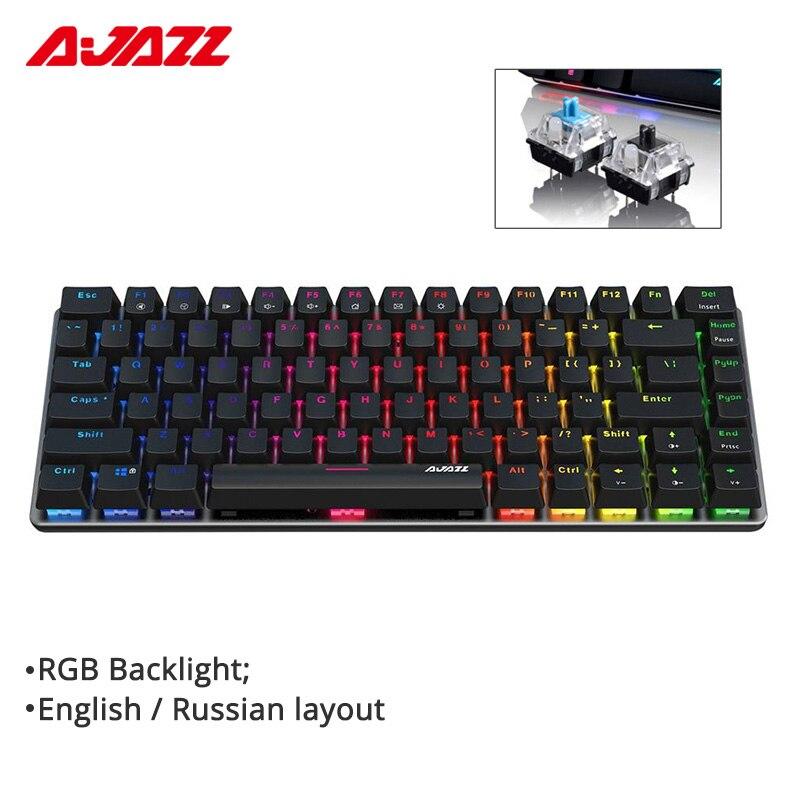 Ajazz AK33 82-key الألعاب لوحة المفاتيح السلكية الميكانيكية تخطيط الروسية/الإنجليزية الأزرق/الأسود التبديل RGB الخلفية ويندوز 10