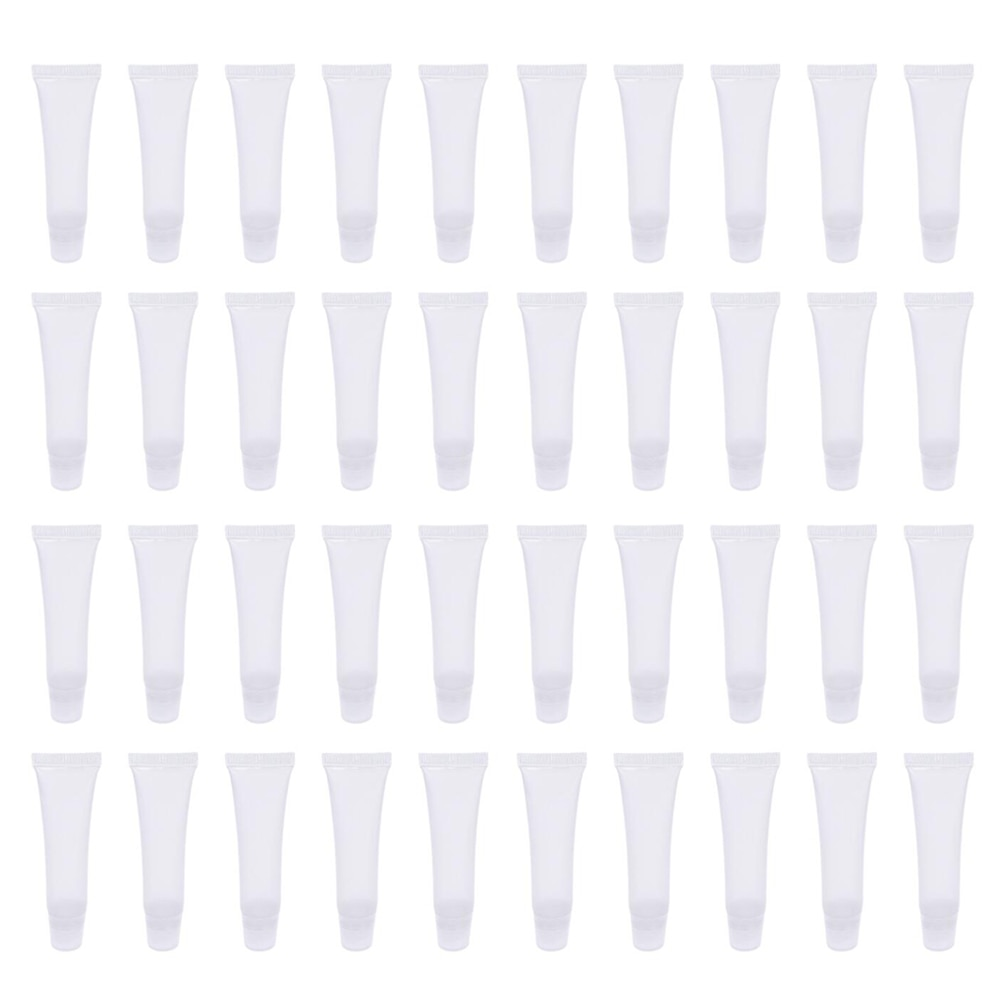 40pcs 10ml Empty Lip Cream Tubes Lip Balm Lip Gloss Refillable Subpackage Soft Tubes For Skin Care Tool A35