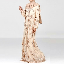 Southeast Asia Middle East Dubai Evening Dress Embroidered Sequins Chiffon Robe Full-sleeve Vestioes