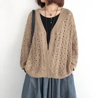 knitted cardigan womens spring and autumn loose large size thin section with a hollow long sleeved top literary sweater jacket