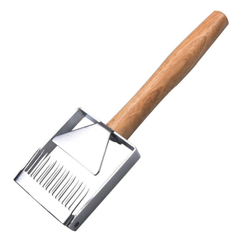 Colmena de abeja de acero inoxidable destaponador de miel tenedor rascador pala mango de madera herramienta de apicultura PAK55