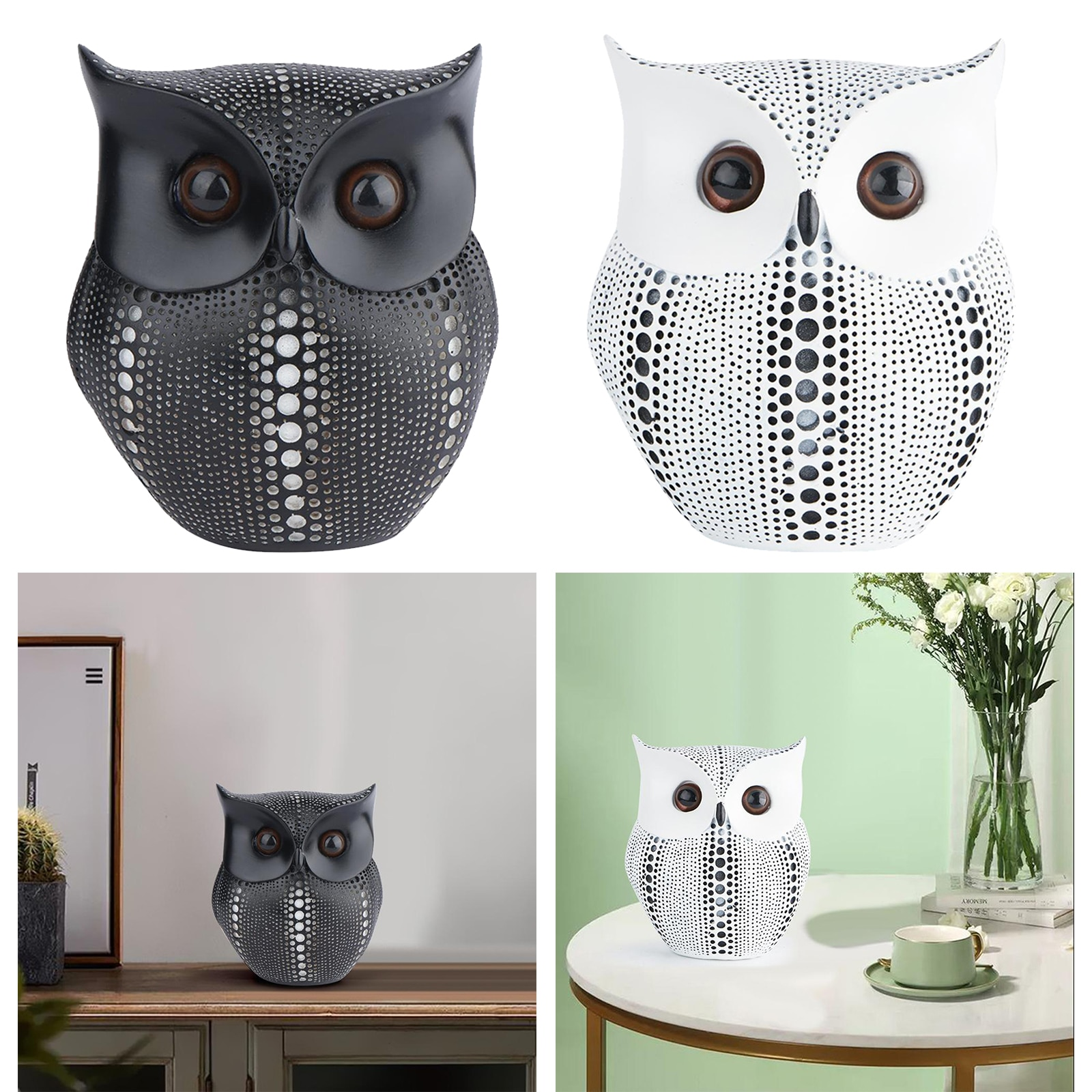 Resin Sculpture Accent Piece, Modern Owl Shaped Decorative Object for Home,  - buy with discount