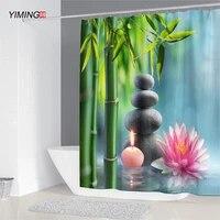 Rideau de douche Zen 3D en bambou vert  decoration de salle de bains  rideau de douche impermeable a la moisissure