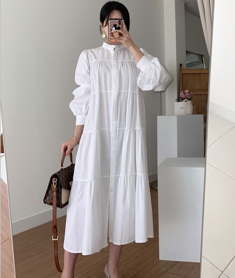 Korean Chic French Minority Spring and Autumn Stand Collar Single-Breasted Loose Slimming Mid-Length